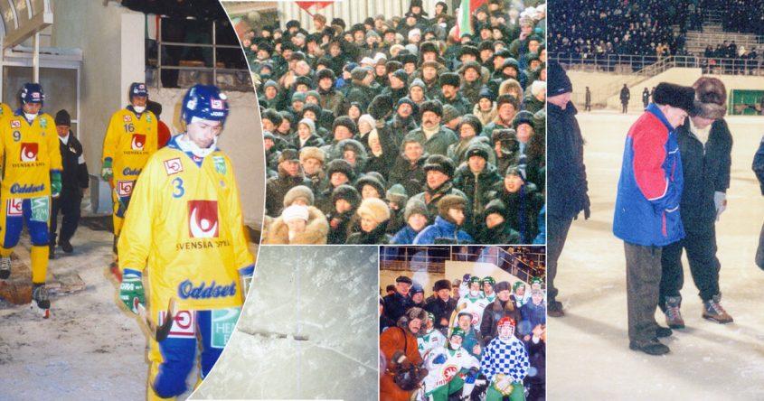 """bandy, År 2000, Tatarstan, Sverige, """"Lilla VM"""", Russian Government Cup, förrädisk is, sprickor i isen, förbundskapten Kent Hultqvist, Hultqvist"""
